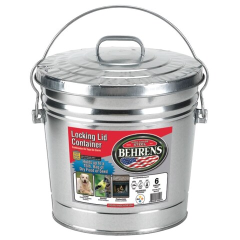 Behrens 6106 Galvanized Steel Locking Lid Can, 6 Gallon