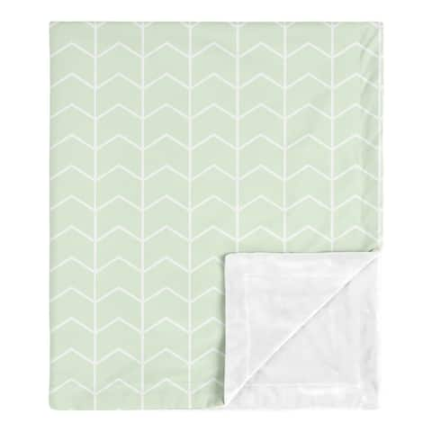 Mint Chevron Arrow Boy Girl Baby Receiving Security Swaddle Blanket - Green White Watercolor Elephant Safari Collection Neutral