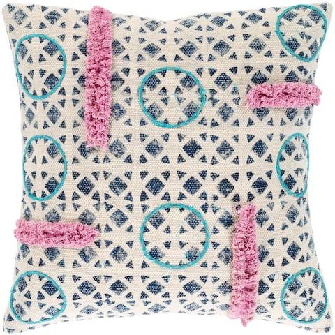 Paloma Textured Bohemian Pink & Teal Throw Pillow