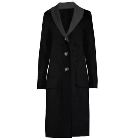 T Tahari Two Tone Double Face Long Coat