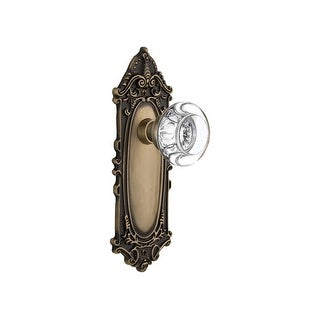 "Nostalgic Warehouse VICRCC_PRV_238_NK  Round Clear Crystal Solid Brass Privacy Knob Set with Victorian Rose and 2-3/8"" Backset"