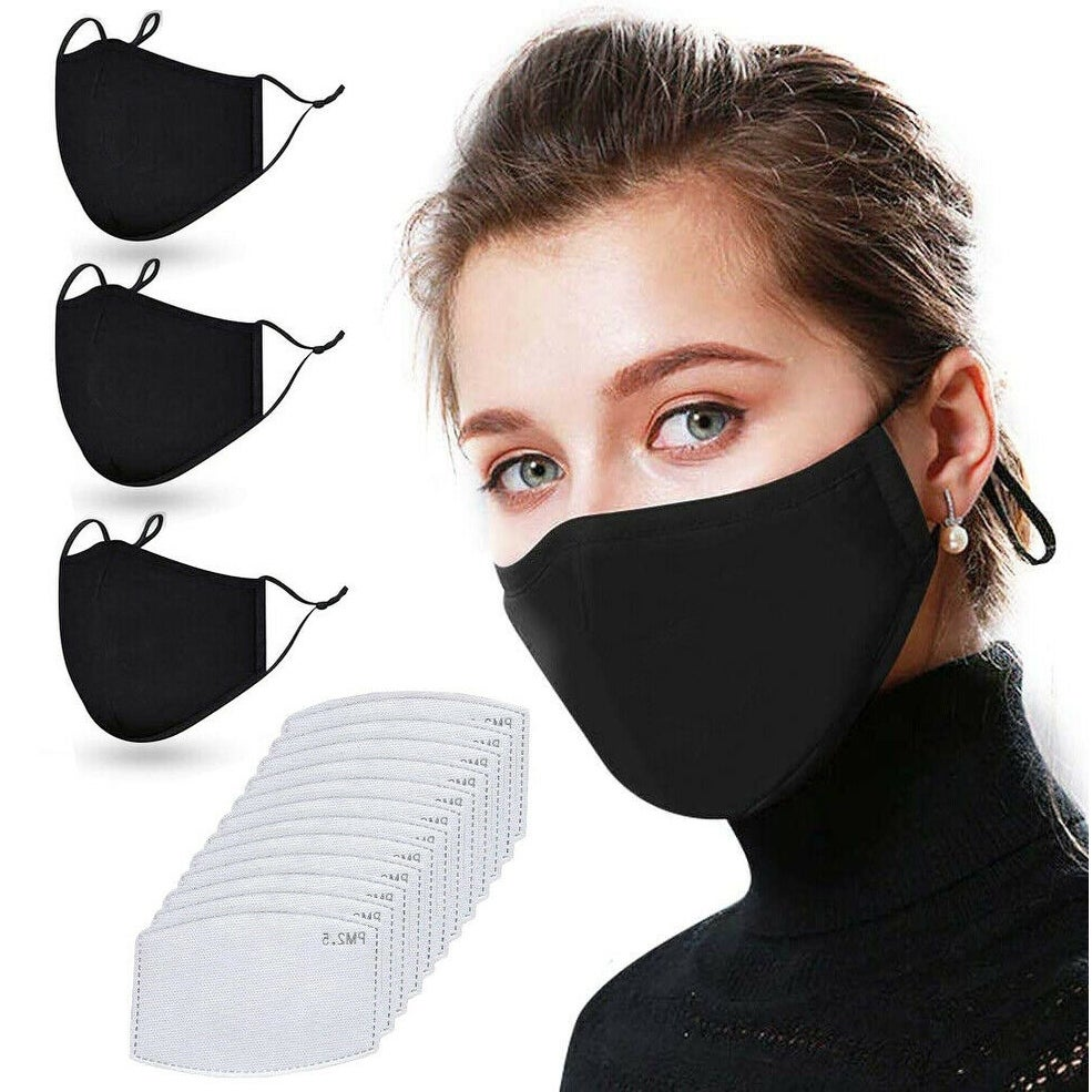 Shop Reusable Washable Black Cloth Face Mask With 12 Pm2 5 Carbon Filters On Sale Overstock 31864115