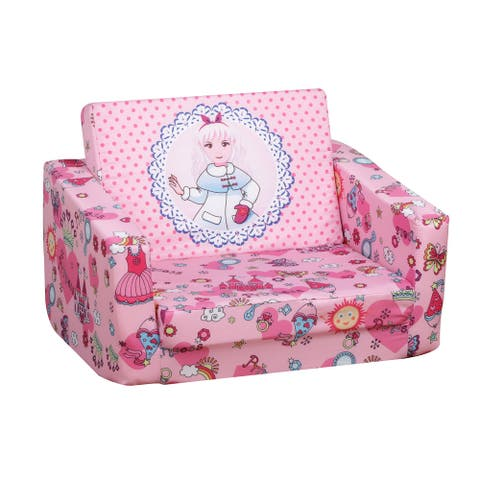 Qaba Kids Princess-Themed Washable and Foldable Armchair/Chaise with Removable Cushion, for Boys and Girls 3-6 Years Old