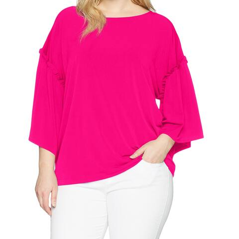 RACHEL Rachel Roy Pink Women's Size 1X Plus 3/4 Sleeve Blouse