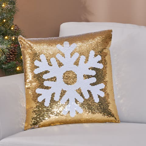 Bolivar Glam Velvet Christmas Throw Pillow by Christopher Knight Home