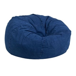Offex Oversized Portable Cotton Upholstered Kids Bean Bag Chair - Denim