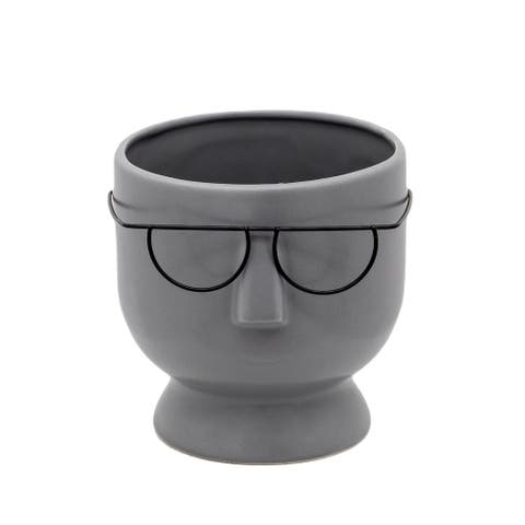 """6.25"""" Solid Gray and Black Face with Glasses Ceramic Planter"""