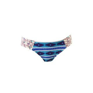 Roxy Juniors Teal Multi Printed Side-Tab Hipster Bikini Bottom XS