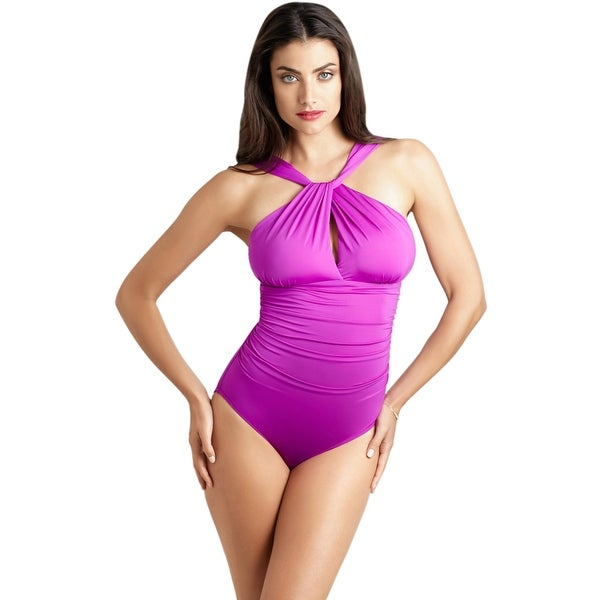 d60a1906d32 Shop Badgley Mischka Orchid Draped High Neck One Piece Swimsuit - Purple -  Free Shipping Today - Overstock - 17662412