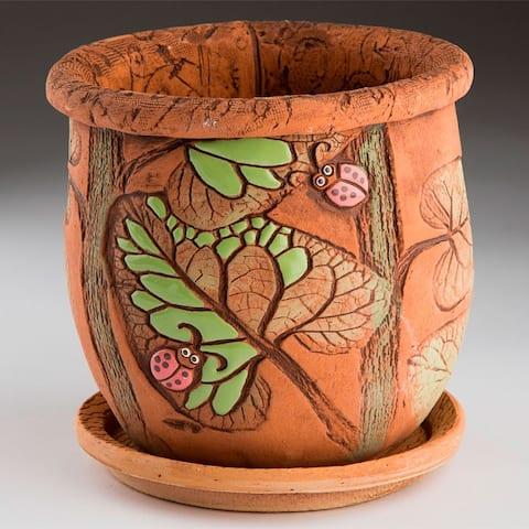 "STP-Goods 5.9"" Ladybugs Ceramic Flower Pot Planter"