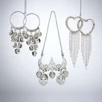 """Club Pack of 24 Silver Splendor Metal Jewelry Christmas Ornaments W/Crystals 2"""""""