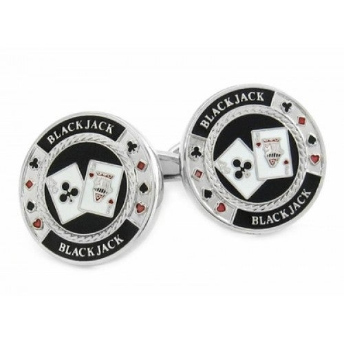 Black Jack Casino Cards Las Vegas Gamble Lucky Cufflinks