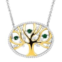 1/5 ct Created Emerald Tree of Love Floater Necklace with Cubic Zirconia in 14K Gold-Plated Sterling Silver