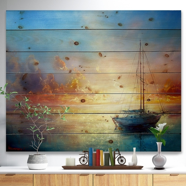 Designart 'Seascape Pier' Seascape Print on Natural Pine Wood - Blue. Opens flyout.