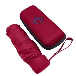 Travella Compact Travel Size Square Quick Drying Umbrella w/ Zippered Case, Red
