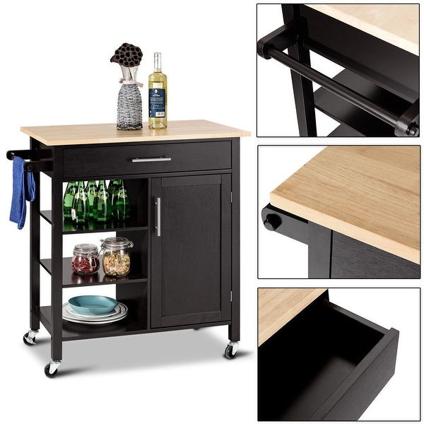 Kitchen Cart With Cabinet: Shop Costway 4-Tier Rolling Wood Kitchen Trolley Cart