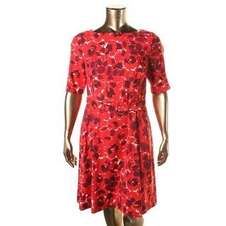 Anne Klein Womens Printed Pleated Wear to Work Dress