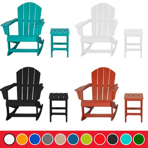 Laguna Poly Rocking Adirondack Chair with Side Table