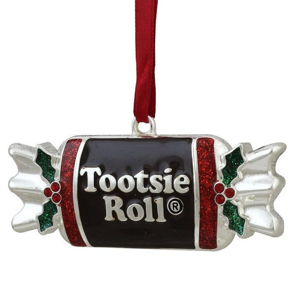 "3.25"" Silver Plated Tootsie Roll Candy Shaped Logo Christmas Ornament with European Crystals"