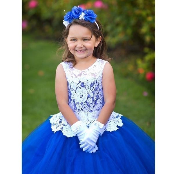 Girls Royal Blue White Lace Tulle Evelina Ball Flower Girl Dress ...