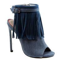 Luichiny Women's Happy One Open Toe Bootie Light Blue Denim Fabric
