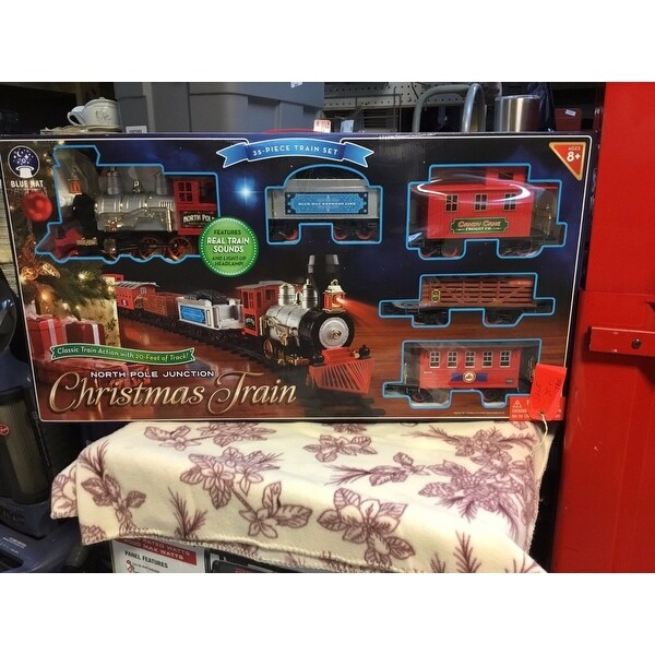 top product reviews for blue hat north pole junction christmas battery operated train set 8431124 overstockcom - North Pole Junction Christmas Train