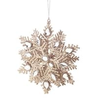 "7"" Luxury Lodge Elegant Champagne Gold Glittered Snowflake Christmas Ornament"