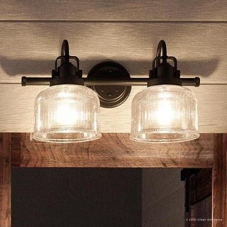 """Link to Luxury Industrial Chic Bathroom Vanity Light, 8.75""""H x 17""""W, with Farmhouse Style, Fashion Bronze Finish by Urban Ambiance Similar Items in Bathroom Vanity Lights"""