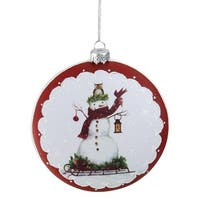 """5"""" White and Burgundy Snowman on a Sled Glittered Christmas Tree Ornament"""