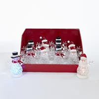 Club Pack of 12 Pre-Lit Clear and Black LED Snowman and Santa Decorative Tabletop Figures 4.5""