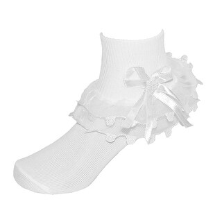 CTM® Girls' Lace Ruffle Anklet Sock with Pearl Accent