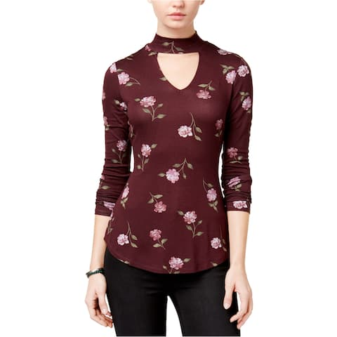 Ultra Flirt Womens Mock Neck Basic T-Shirt