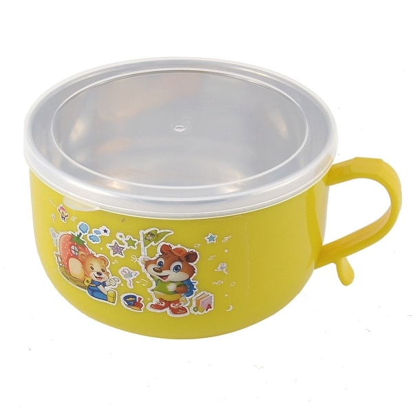 Unique Bargains School Picnic Double Layers Portable Food Lunch Box Container Yellow w Spoon