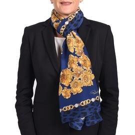 Roberto Cavalli Chain Leopard Silk Scarf Navy-gold flowers/chain