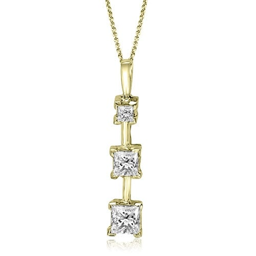 1.00 cttw. 14K Yellow Gold Three-Stone Princess Cut Diamond Pendant - White H-I