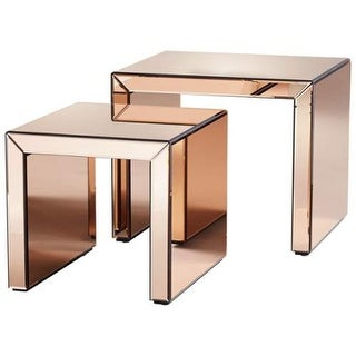 Cyan Design Abigail Nesting Tables Abigail 20 Inch Long Wood and Mirrored Glass