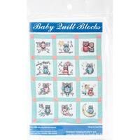 """Stamped Baby Quilt Blocks 9""""X9"""" 12/Pkg-Owls"""