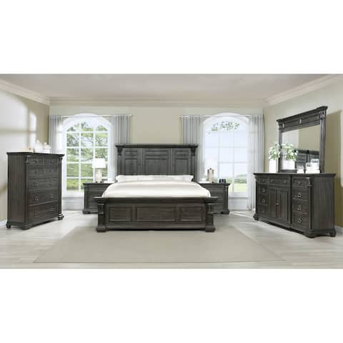 Farson Distressed Dark Walnut Finish Wood Panel Bed, Dresser, Mirror, Two Nightstands, Chest