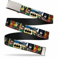 """Blank Chrome 1.0"""" Buckle Batman & Robin Action Panels Webbing Web Belt 1.0"""" Wide - S"""