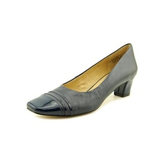 Auditions Classy Women  Square Toe Leather Blue Heels