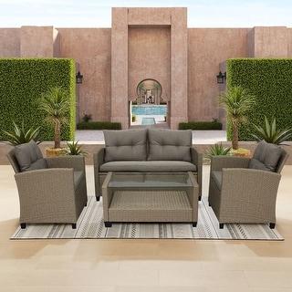 Corvus Armitage 4-piece Outdoor Wicker Sofa Set with Cushions