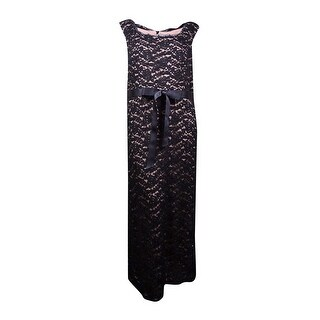 R&M Richards Women's Sleeveless Contrast Lace Belted Dress - 22W
