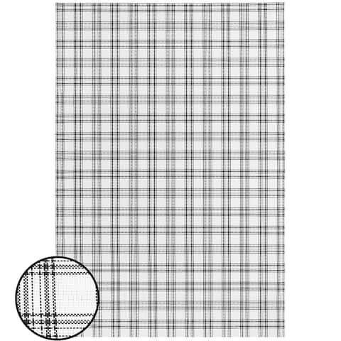 Indoor/Outdoor Recycled Basketweave Mats - Black White, Plaid - 4' x 6'