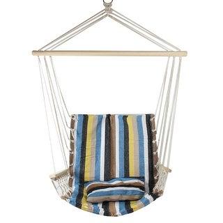 "35.25"" x 37"" Blue, Brown and Yellow Striped Hammock Chair with Pillow and Armrests - Blue"