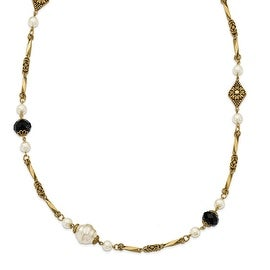Goldtone Glass Pearl & Black Acrylic Bead Necklace - 42in