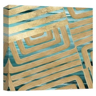 "PTM Images 9-124619  PTM Canvas Collection 12"" x 12"" - ""Teal and Gold Watercolor Trace III"" Giclee Abstract Art Print on Canvas"