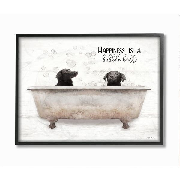 Stupell Industries Animal Bathroom Happiness Is A Bubble Bath Dog Quote Framed Wall Art White Overstock 31618973