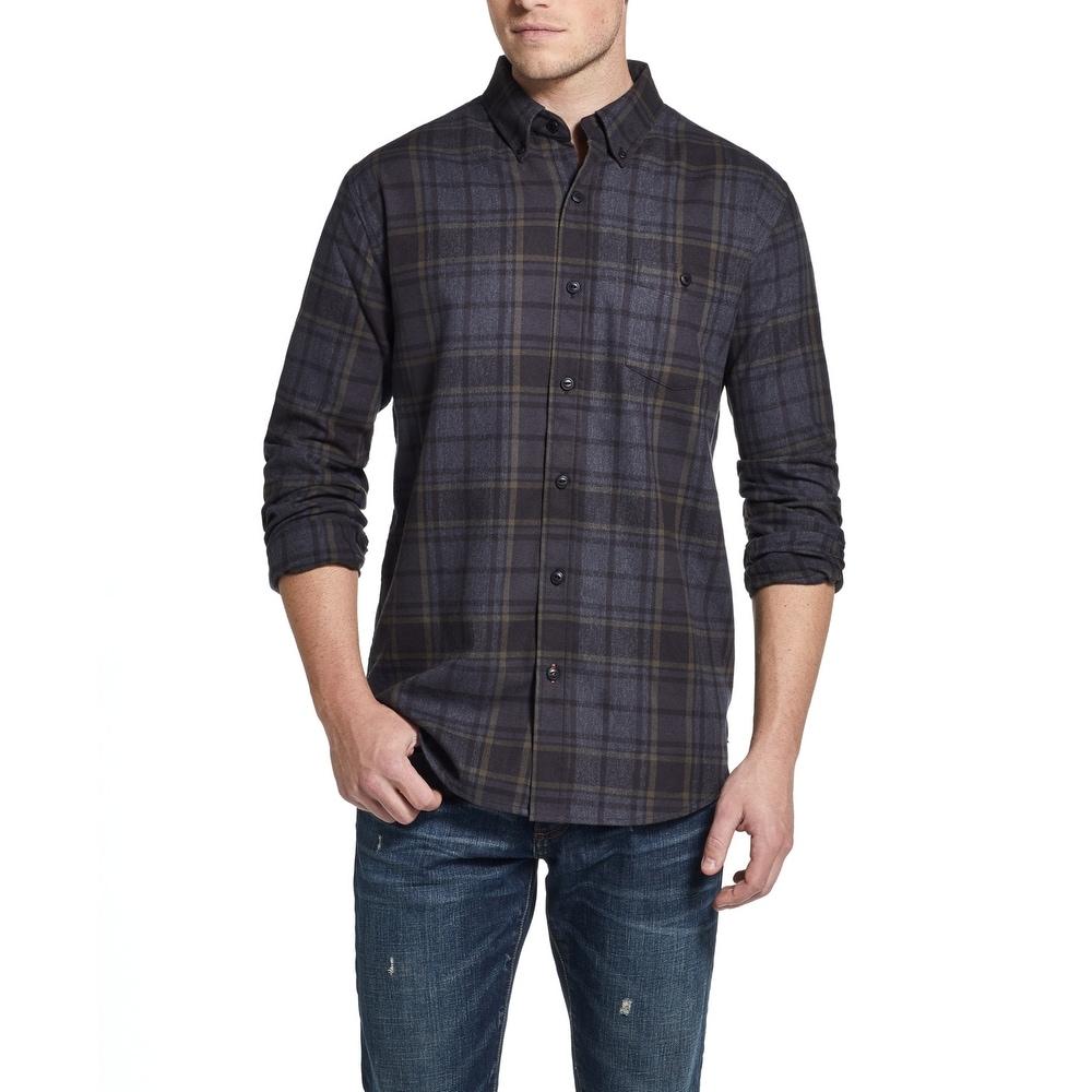Weatherproof Vintage Mens Blue Flannel Plaid Button-Down Shirt S BHFO 5781