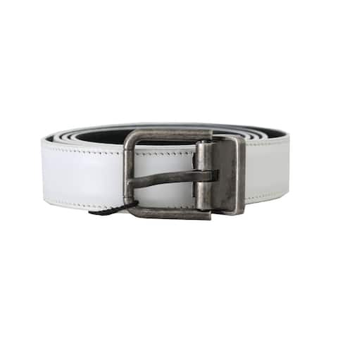 Dolce & Gabbana White Leather Brushed Buckle Mens Men's Belt