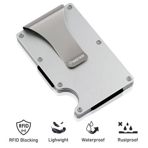 "INSTEN Minimalist Wallet for Men RFID Blocking Slim Money Clip, Silver Aluminum - 3.6"" x 2.3"" x 0.7"""